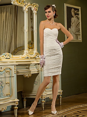 Lanting Bride® מעטפת \ עמוד קטן / מידה גדולה שמלת כלה - שיק ומודרני / לקבלת פנים שמלות לבנות קטנות קצר \ מיני מחשוף לב תחרה עם