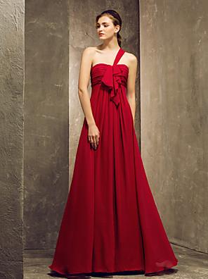 Lanting Bride® Na zem Šifón Šaty pro družičky - Pouzdrové Jedno rameno Větší velikosti / Malé s Nabírání / Volánky / Sklady