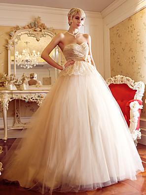 Lanting Bride A-line / Princess Petite / Plus Sizes Wedding Dress-Court Train Sweetheart Tulle