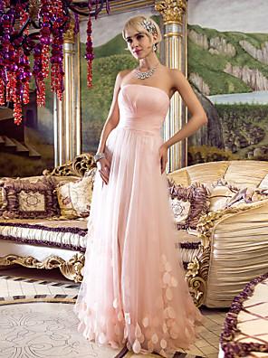 드레스 - 빈티지 스타일 시스 / 칼럼 끈없는 스타일 바닥 길이 튤 와 크리스 크로스 / 루시 주름 장식