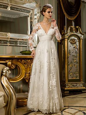lanting novia vaina / columna de pequeña / más el tamaño de la boda vestido palabra de longitud con cuello en V de encaje / tul