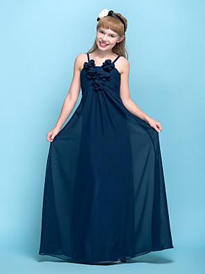 Lanting Bride® עד הריצפה שיפון שמלה לשושבינות הצעירות  מעטפת \ עמוד רצועות ספגטי אמפייר (מתחת לחזה) עם פרח(ים) / סלסולים