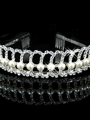 Women's / Flower Girl's Rhinestone / Imitation Pearl Headpiece-Wedding Headbands Silver Round