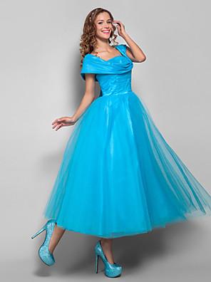 칵테일 파티 / 홈 커밍 / 홀리데이 드레스 - 빈티지 스타일 / 1950년대 볼 드레스 스트랩 종아리 길이 튤 와 루시 주름 장식