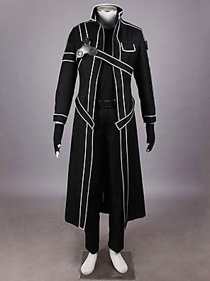 קיבל השראה מ Sword Art Online Kirito אנימה תחפושות קוספליי חליפות קוספליי אחיד שחור מעיל / חולצה / מכנסיים / כפפות