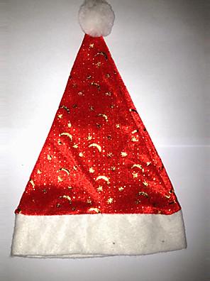 Hatte Julemands Dragt Festival/Højtider Halloween Kostumer Rød / Hvid Hat Jul Fløjl