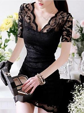 שמלת מיני אביב צוואר הסקסי V תחרה של הנשים
