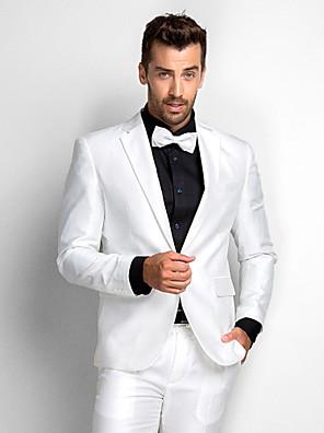 bílý polyester standardní fit dvoudílný smoking