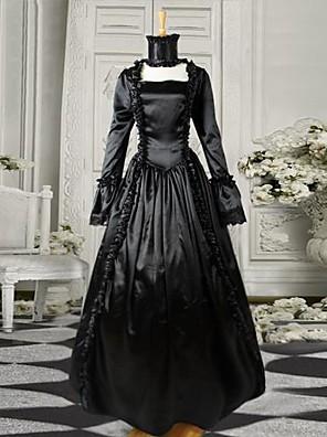 Svart lange ermer Satin Gothic viktoriansk kjole