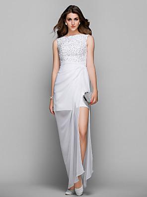 TS Couture® Prom / Formal Evening / Military Ball Dress - Elegant / Sparkle & Shine Plus Size / Petite Sheath / Column Bateau Tea-length Chiffon