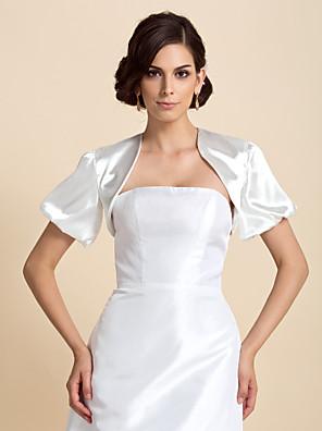כורכת חתונה מעילים / מעילים שרוול קצר סאטן כמוצג בתמונה חתונה / מסיבה / ערב בלון פאף פתח חזית