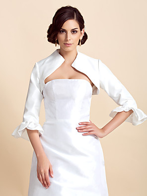 Wraps casamento Casacos / Jaquetas 3/4 de Manga Tafetá Marfim Casamento Pétala Dobradas Aberto à Frente