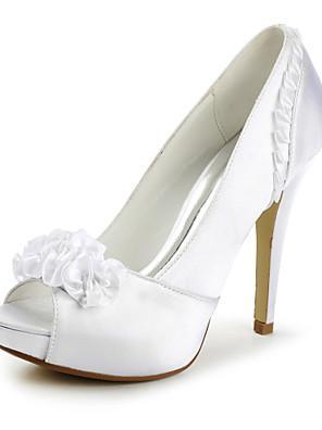 Women's Shoes Satin Spring / Summer / Fall / Winter Heels / Peep Toe / Platform Wedding Stiletto Heel Applique / Satin Flower / Ruffles
