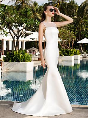 Lanting Bride® Sereia Pequeno / Tamanhos Grandes Vestido de Noiva Simplesmente Sublime Cauda Escova Decote em U Cetim / Tule com