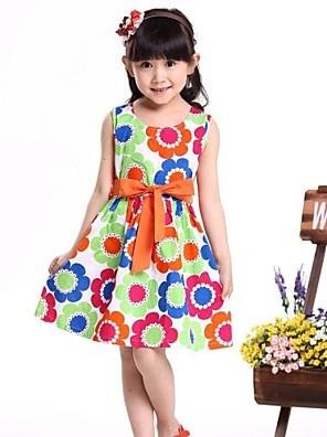 שמלה פרחוני כותנה אורגנית קיץ צבעוני / כתום הילדה של