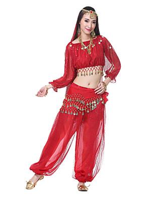 ריקוד בטן תלבושות בגדי ריקוד נשים ביצועים משי חרוזים / מטבעות / נצנצים שרוול ארוך אביזרים לשיער / רעלה / חגורה / עליוןTop Length:20cm