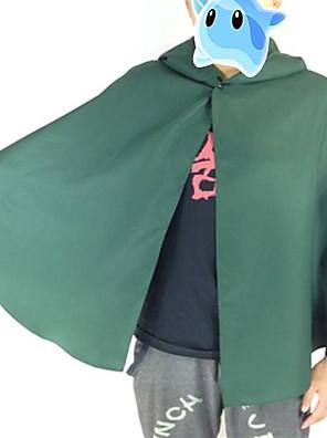 קיבל השראה מ Attack on Titan Levy אנימה תחפושות קוספליי חליפות קוספליי טלאים ירוק שרוולים ארוכים גלימה