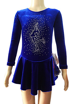 Robe de patinage Blue Velvet manches longues figure de la fille (Assorted Taille)