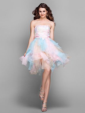 TS Couture® Cocktail Party / Prom / Holiday Dress - Color Gradient Plus Size / Petite A-line Strapless Knee-length Lace / Tulle with Embroidery