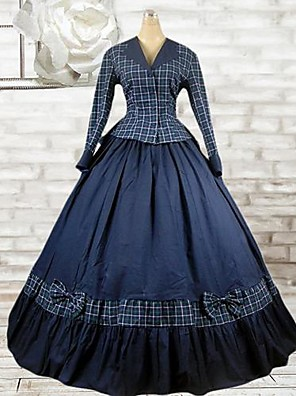 manga longa de tinta até o chão azul algodão roupa lolita clássico