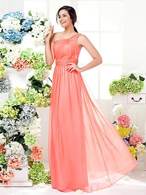Lanting Bride® Na zem Šifón Šaty pro družičky - Mini já Pouzdrové Jedno rameno Větší velikosti / Malé sŠerpa / Stuha / Boční řasení /