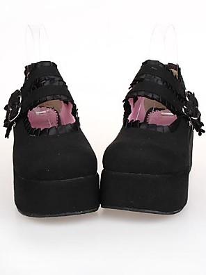 noir pu 7cm en cuir plate-forme classique&chaussures de lolita traditionnels