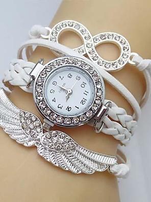 Dames Modieus horloge Kwarts vleugel Leer Band Glitter Wit / Blauw / Rood / Groen / Roze / roze / Ivoor Merk-