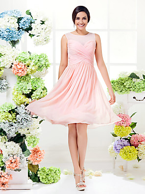 Lanting Bride® באורך  הברך ג'ורג'ט שמלה לשושבינה - שקוף / אמא ובת גזרת A עם תכשיטים פלאס סייז (מידה גדולה) / פטיט עם בד בהצלבה