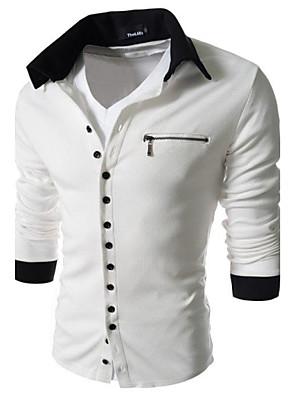 Masculino Camiseta Casual Estampado / Cor Solida Algodão Manga Comprida Masculino