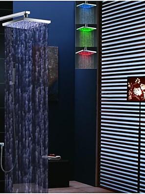 """Kortárs Fali LED / Termosztatikus / Zuhany """"eső""""szórófej / Kézi zuhanyzót tartalmaz with  Réz szelep Két fogantyúval négy lyukat for  Króm"""