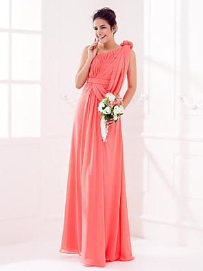 Hasta el Suelo Georgette Vestido de Dama de Honor Funda / Columna Sobre un Hombro Talla Grande / Pequeña conRecogido / Flor(es) / Cinta /