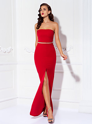 Prom / Formal Evening / Military Ball Dress - Sexy / Open Back / Elegant Sheath / Column Strapless Floor-length Jersey with Split Front