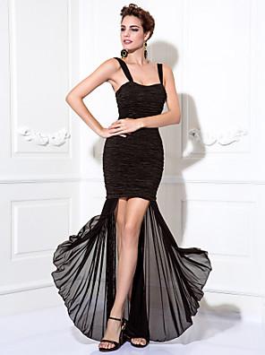 ts couture® cocktail party / sukienka na studniówkę plus size / wątła otoczka / kolumna paski herbata długości szyfonowa / odcinek satyny z ruching