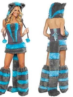 שמלת תחפושות ליל כל הקדושים פרוות שועל כחולים חמה