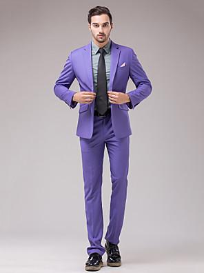 חליפות גזרה צרה פתוח צר Single Breasted One-button שני חלקים לבנדר דש מלוכסן