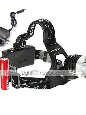 תאורה פנסי ראש / פנסי אופניים LED 1800 Lumens 3 מצב 18650 ניתן לטעינה מחדש / ראש הזוויתמחנאות/צעידות/טיולי מערות / שימוש יומיומי / רכיבה