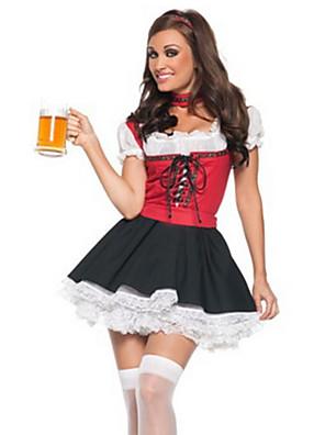 תחפושות קוספליי / תחפושת למסיבה פסטיבל אוקטובר / אתני ודתי פסטיבל/חג תחפושות ליל כל הקדושים אדום טלאים שמלה / צווארוןהאלווין (ליל כל