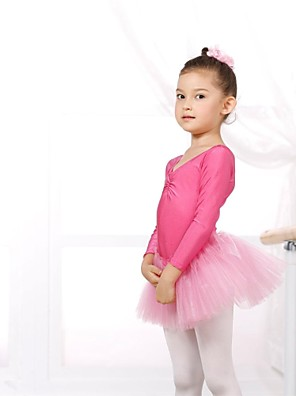 Ballet Gympakken Dames / Kinderen elastan / Tule Lange Mouw CM:110:50,120:53,130:56,140:59,150:61,160:64,170:67,180:70