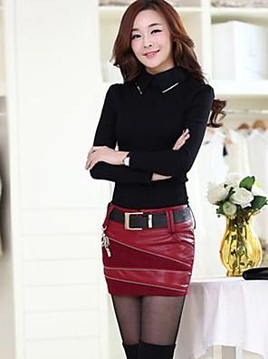 חצאית תפרי pu של נשים אופנת קוד גדול