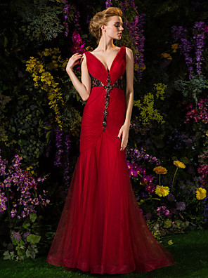 TS Couture® Prom / Formal Evening / Military Ball Dress - See Through Plus Size / Petite Trumpet / Mermaid V-neck Sweep / Brush Train Lace / Tulle
