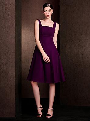 Lanting Bride® Ke kolenům Šifón / Elastický satén Šaty pro družičky - A-Linie Čtvercový Větší velikosti / Malé s Nabírání