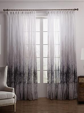 To paneler Vindue Behandling Rustik Soveværelse Polyester Materiale Sheer Gardiner Shades Hjem Dekoration For Vindue