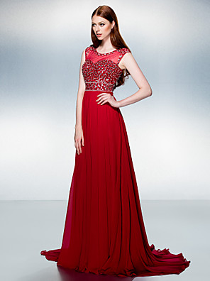 TS Couture® Formal Evening Dress Plus Size / Petite A-line Jewel Court Train Chiffon with Beading / Crystal Detailing