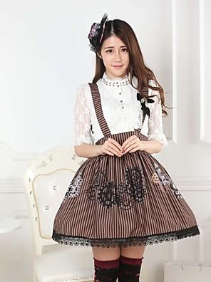 חצאית לוליטה מתוקה Steampunk® / נסיכות Cosplay שמלות לוליטה Coffee דפוס לוליטה אורך בינוני חצאית ל נשים פוליאסטר