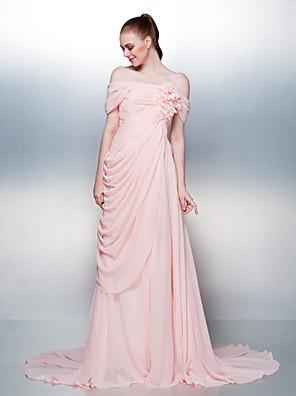 Vestido Corte en A Hombros al Aire Corte Raso con Botones / Flor(es) / Recogido Lateral / Frontal Abierto / En Cruz