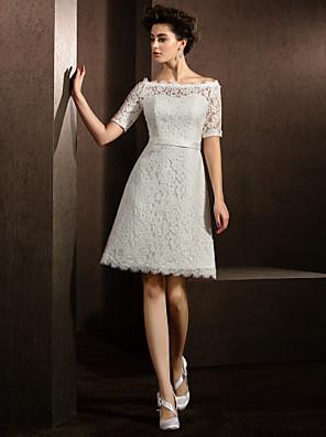 Lanting Bride® Linha A / Princesa Pequeno / Tamanhos Grandes Vestido de Noiva Até os Joelhos Canoa Renda com