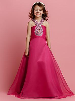 A-line Floor-length Flower Girl Dress - Organza Sleeveless V-neck with Beading / Ruching