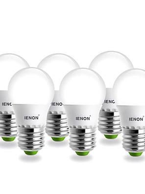 3W E26/E27 LED-globepærer G60 SMD 240-270 lm Varm hvid AC 100-240 V 6 stk.