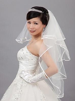 Bruidssluiers Vier-lagen Sluiers voor kort haar 31,5 in (80cm) Tule Ivoor Ivoor