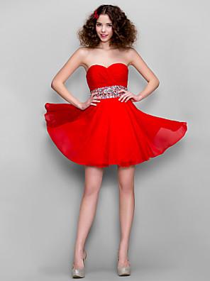 ts couture® vestito più il formato / minuta A-Line Sweetheart breve / mini chiffon con perline / Criss Cross